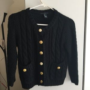 Black 3/4 Sleeve Military Inspired Cardigan